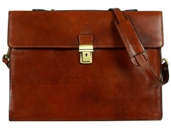 Amber Leather Laptop Briefcase With Shoulder Strap (5)