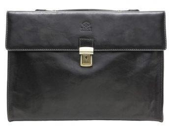 Black Leather Business Briefcase For Gentlemen (1)