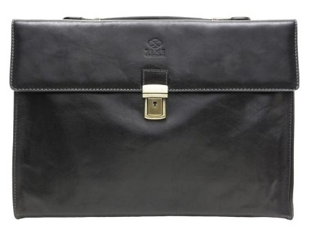 Black Leather Business Briefcase For Gentlemen (1)
