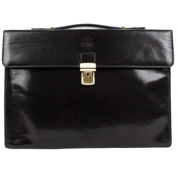 Black Leather Business Briefcase For Gentlemen