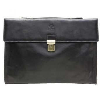 Black Leather Business Briefcase For Gentlemen