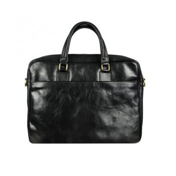 Black Leather Laptop Bag With Shoulder Strap
