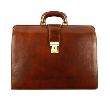 Brown Leather Business Briefcase For Men