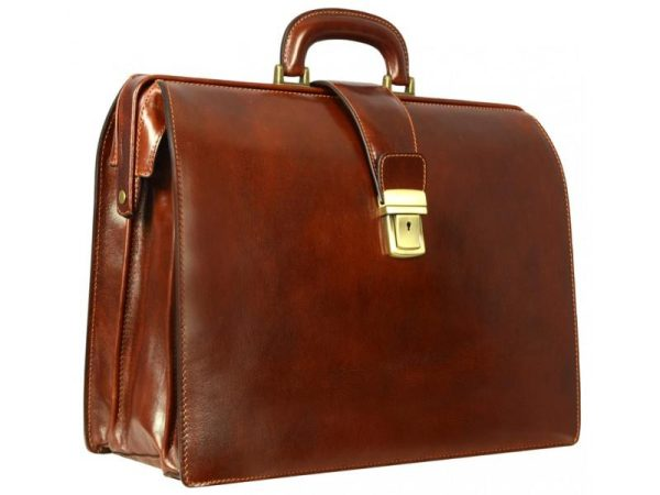 Brown Leather Business Briefcase For Men (5)