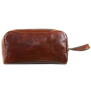 Brown Leather Cosmetic Bag