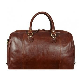 Brown Leather Duffle Bag With Shoulder Strap