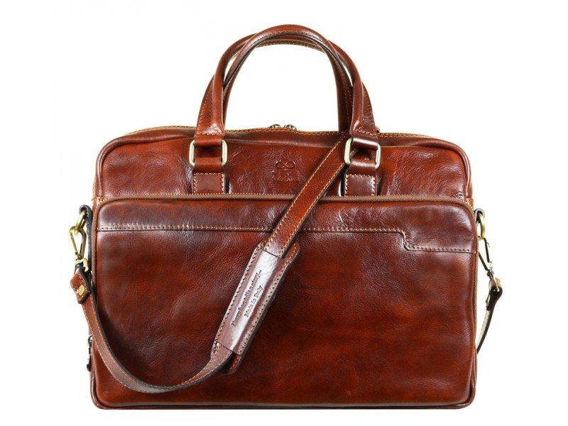 Brown Leather Laptop Bag With Shoulder Strap 6