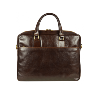 Brown Leather Laptop Bag With Shoulder Strap