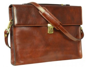 Brown Leather Messenger Briefcase (1)