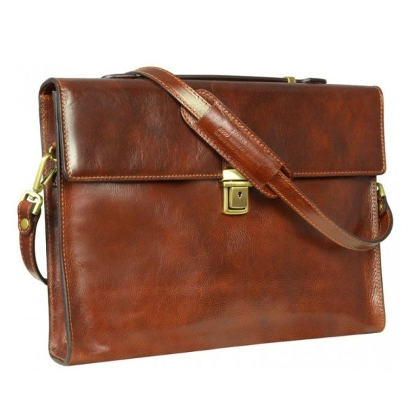 Brown Leather Messenger Briefcase
