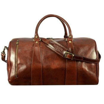 Brown Leather Sports Duffle Bag