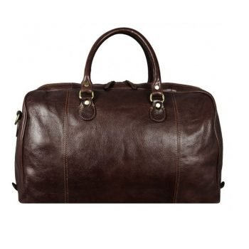 Dark Brown Duffle Bag With Shoulder Strap