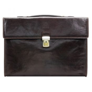 Dark Brown Leather Business Briefcase For Gentlemen