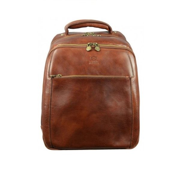 Geek's Brown Leather Backpack