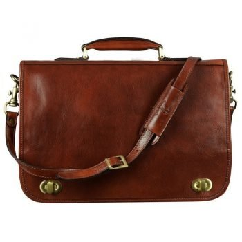 Mens Brown Leather Briefcase With Detachable Shoulder Strap