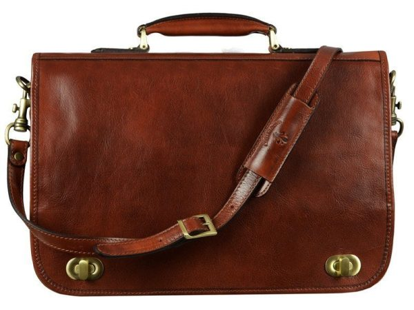 Mens Brown Leather Briefcase With Detachable Shoulder Strap (6)