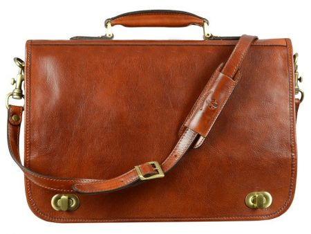 Mens Orange Leather Briefcase With Detachable Shoulder Strap (1)