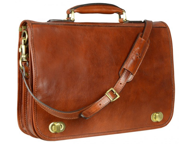 834c142a30e ... new appearance d9448 eddc7 Mens Orange Leather Briefcase With  Detachable Shoulder Strap ...
