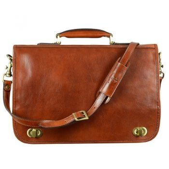 Mens Orange Leather Briefcase With Detachable Shoulder Strap