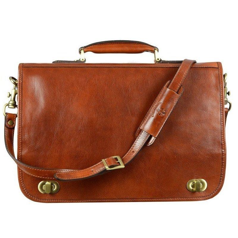 f1ccbf0de01c Men's Orange Leather Briefcase With Detachable Shoulder Strap