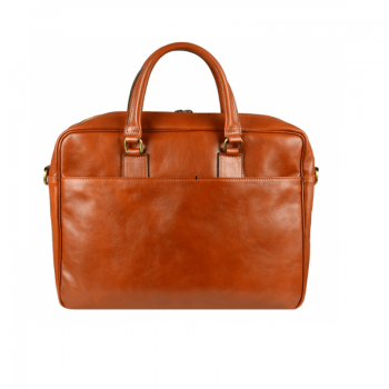 Orange Leather Laptop Bag With Shoulder Strap