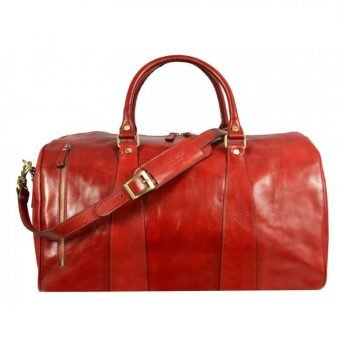 Red Leather Sports Duffle Bag