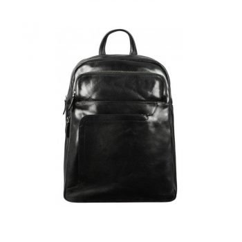 Stylish Black Leather Backpack