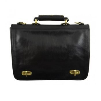 Superb Black Leather Briefcase For Men With Detachable Shoulder Strap