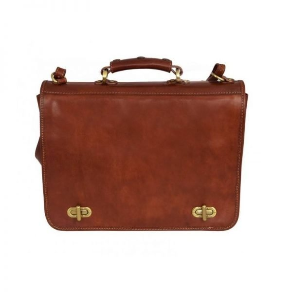 Superb Orange Leather Briefcase For Men With Detachable Shoulder Strap