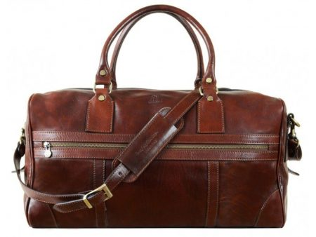 Unisex Brown Leather Duffle Bag (4)