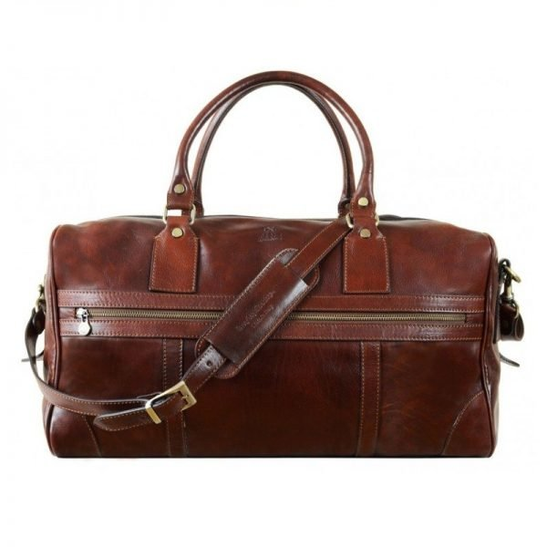 Unisex Brown Leather Duffle Bag