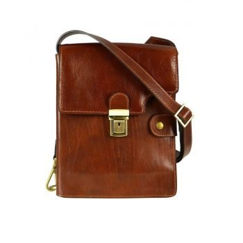 Vintage Brown Leather Shoulder Bag For Men