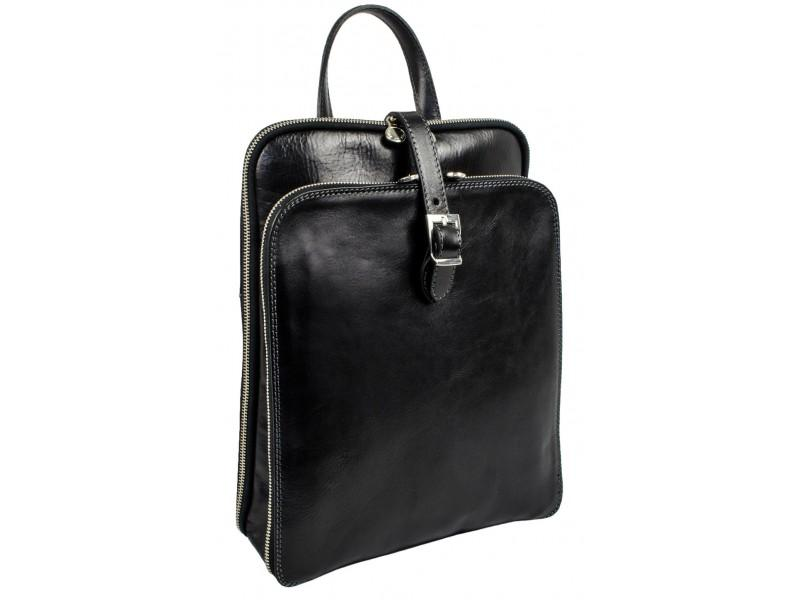 Womens Black Leather Laptop Backpack
