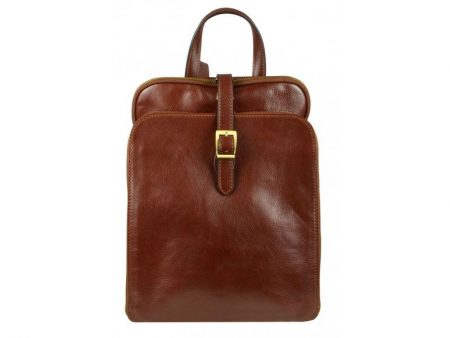 Womens Brown Leather Laptop Backpack (1)