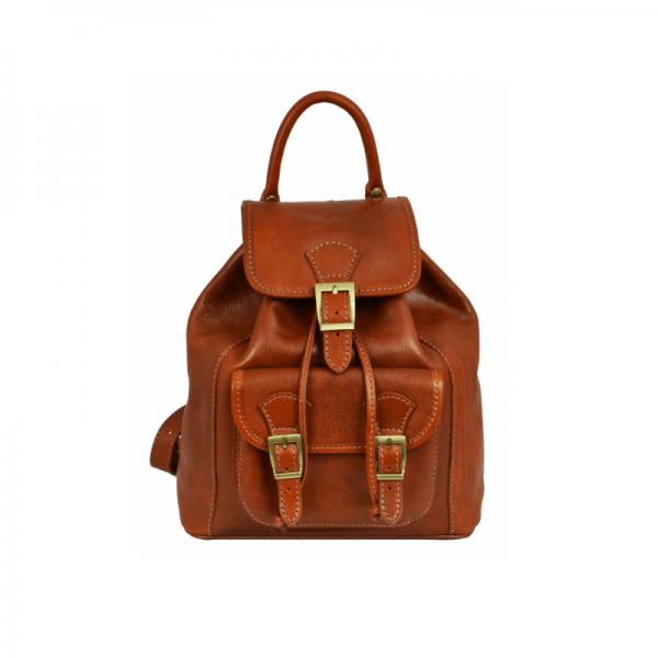 Womens Orange Leather Backpack