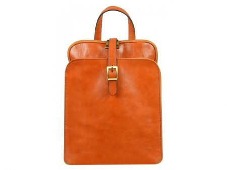Womens Orange Leather Laptop Backpack (1)