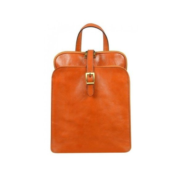 Womens Orange Leather Laptop Backpack