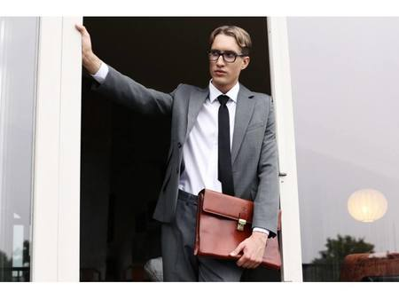 Amber Leather Laptop Briefcase With Shoulder Strap (1)