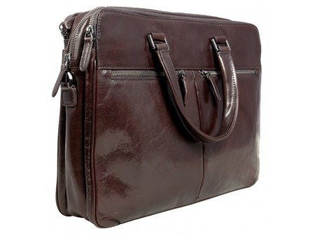 Aubergine Leather laptop Bag With Shoulder Strap 1