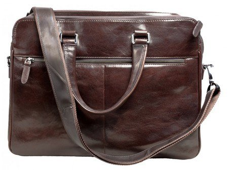 Aubergine Leather laptop Bag With Shoulder Strap
