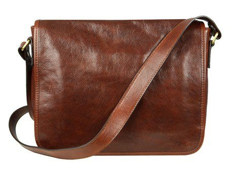 Brown And Simple Leather Messenger Bag