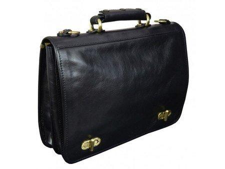 Superb Black Leather Briefcase For Men With Detachable Shoulder Strap