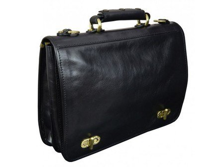 Superb Black Leather Briefcase For Men With Detachable Shoulder Strap 2