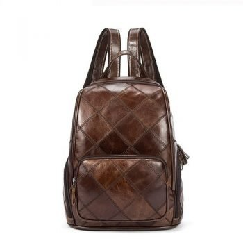 Brown Vintage Leather Laptop Backpack - Uzes
