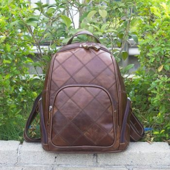 Brown Vintage Leather Laptop Backpack - Uzes1