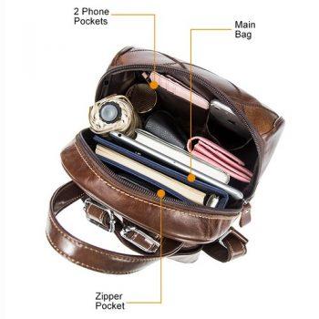 Brown Vintage Leather Laptop Backpack - Uzes2