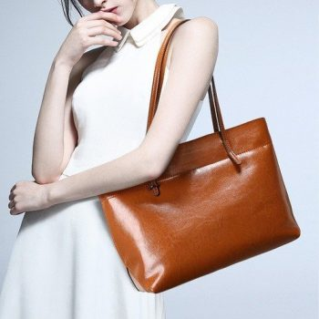 Classic Genuine Leather Shoulder Tote Bag - Breel