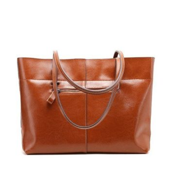 Classic Genuine Leather Shoulder Tote Bag - Breel1