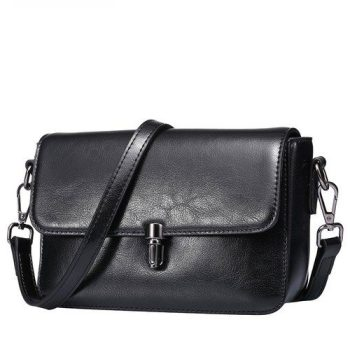 Classic Leather Buckle Lock Clutch Bag - Bizou
