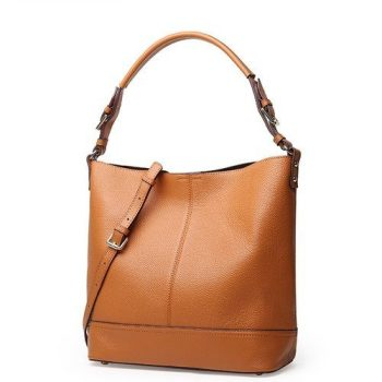Classy Leather Handbag With Shoulder Strap - Miramos